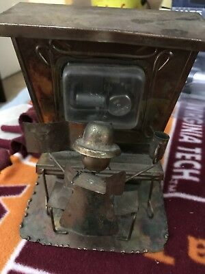Vintage Copper Tin Piano Man Music Box-Working! Antique Retro Brass Bronze Look