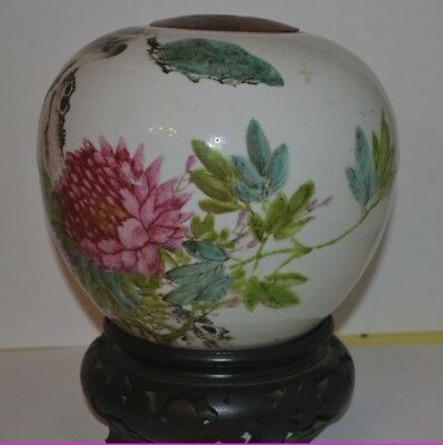 Antique Chinese Republic Porcelain Vase with Bird Flowers Singed