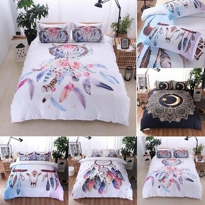 Tribal Boho Indian Style Quilt Duvet Cover Bedding Set +Pillow Case King Queen