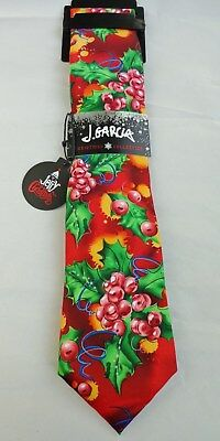 J Jerry Garcia Grateful Dead Colorful Christmas Holly Red Berries Tie NEW