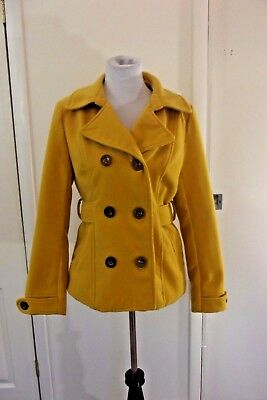 Inspired Hearts Mustard Yellow Peacoat ~Sz LARGE~ Belk Coat Jacket Outerwear (H)