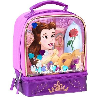 Beauty Beast Princess Belle Lunch Box Insulated Pink Bag Confetti Christmas NEW