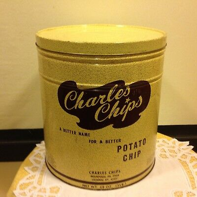 Vintage Large Charles Chips Metal Tin Can Potato Advertising Canister HUGE 3#