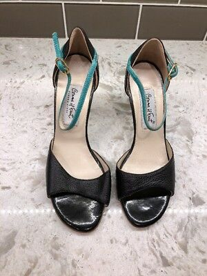 Comme Il Faut Tango Shoes Black and Teal Size 38