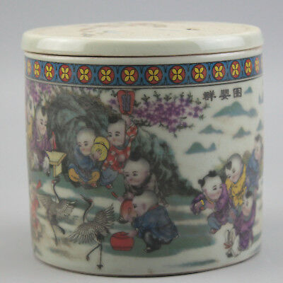 Chinese old hand-carved porcelain famille rose glaze child pattern Cricket cans