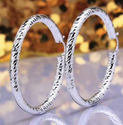 Womens Sterling Silver Diamond Cut Large 61mm Round Circle Hoop Earrings #EA114