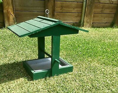 Hand Crafted Wooden Bird Feeder With Metal Tray
