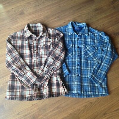 Lot Pendlton Large Flannel Button Down Shirt Blue Brown Wool Country Traditions