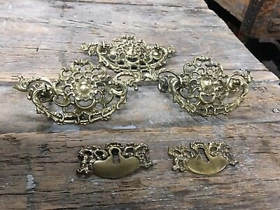 Antique Set of 5 VICTORIAN PIERCED CAST BRASS DRAWER HANDLE PULL KEY PLATES