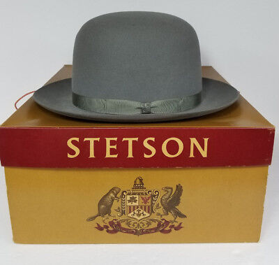 Vintage Royal Stetson Playboy Gray Fedora Hat with Gray Band - Size 7 1/8 *NOS*
