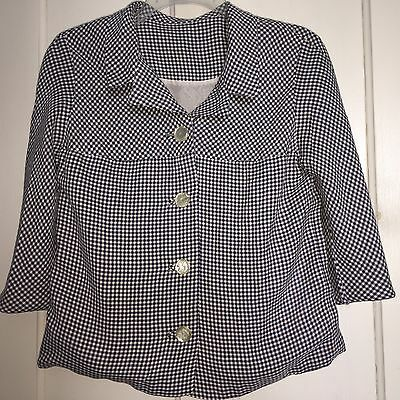 Vintage Lined Navy Gingham Cute Spring Jacket Size Small