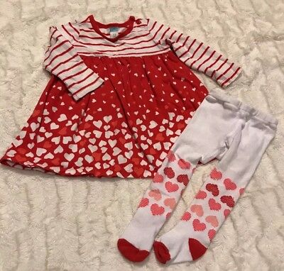 Old Navy Baby Girl Long Sleeve Red White Heart Design & Tights Size 6-12 Months