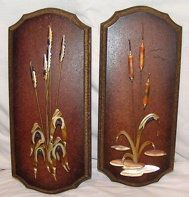 Vtg Mid-Century Brass Copper Wall Hanging Sculptures Cattails Wheat 2 pcs Vtg