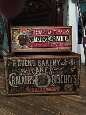 Advertising Crate R. OVENS BAKERY CAKES, CRACKERS BISCUITS, 1800's