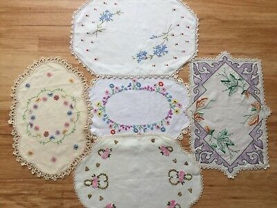 5 large  hand embroidered doilies