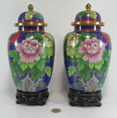 Pair of Rare Vintage Chinese ,Tall Bronze Cloisonne Floral Potiche