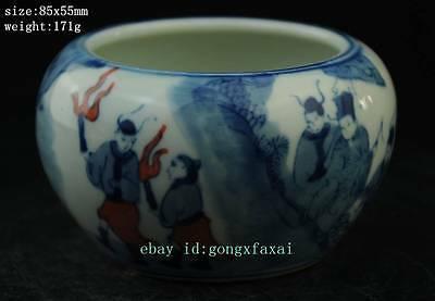 Chinese antique  blue and white porcelain jar of hand-drawing character figure