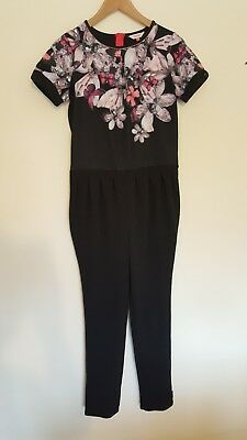 Girls black & lilac floral ted baker short sleeve jumpsuit age 14 years