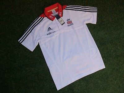 "Bnwt ~ Team Gb Great Britain Adidas Sky Cycling Team Ss Polo Shirt Size 36""~38"""