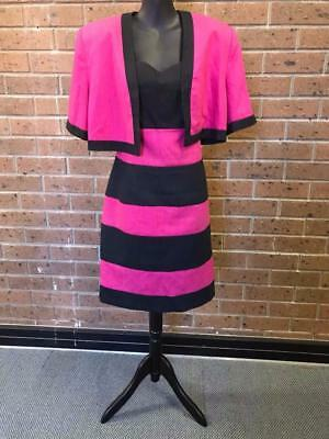 Anthea Crawford Black Pink Straight Pencil Style Fit Dress Jacket Suit Size 12
