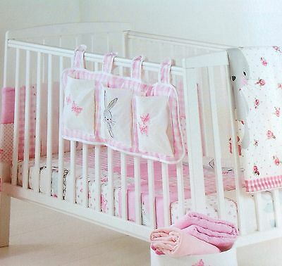 Sale! Nursery Baby Girl Cot Tidy Bunny Appliqué Embroidered Butterfly Pink White