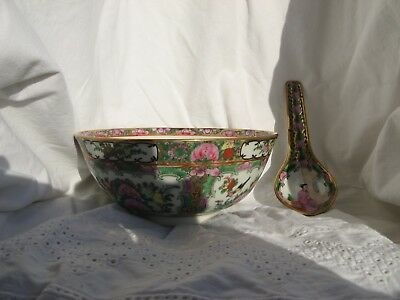 Schale Suppenschale Bowl Spoon China Famille Rose Canton Medaillon Handpainted
