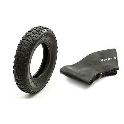 "4.80 / 4.00-8"" 8 Inch Wheelbarrow Nylon Tyre + Inner Tube 400-8 480-8 Bent Valve"