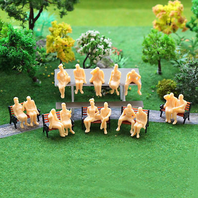 10Pcs O Scale 1:48 UNPAINTED SKIN COLOUR FIGURES PEOPLE SEATED ALL DIFFERENT