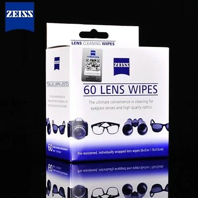 Zeiss 60/100 Pcs Pre Moist Lens Cleaning Wipes for Camera Glass Screen Phone Lap