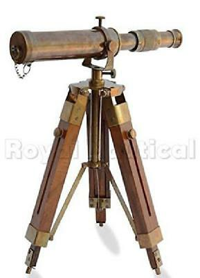 Vintage Brass Antique Telescope Wooden Stand Spyglass Home Tabletop Decor Scope
