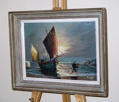 G LUIGI Original Oil Painting on Canvas of a Figure by a Boat Moored on a Beach