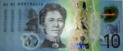 AUSTRALIAN  $10 Dollar 2017 lot of 3 identical serial number UNC Banknotes.