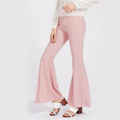 Sheinside Pink Fold Pleat Back Flare Pants Ladies High Waist Boot Cut Elegant...