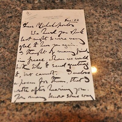 Signed Letter/autograph - Lord Dunsany (Edward J. Plunkett) Dated 12/1922