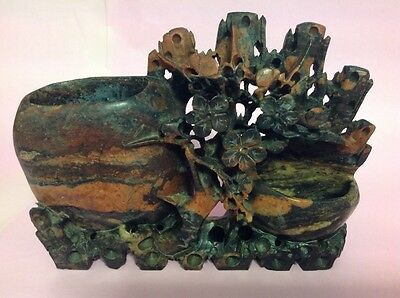 Antique Large Hand Carved Chinese Soapstone Ink Pot and Brush Stand c 1900