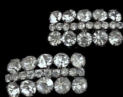 Vintage French MUSI shoe clips ART DECO Big Clear Rhinestones 1950s MINT signed