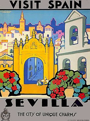 Visit Spain Sevilla Unique Charms Vintage Spanish Travel Advertisement Poster