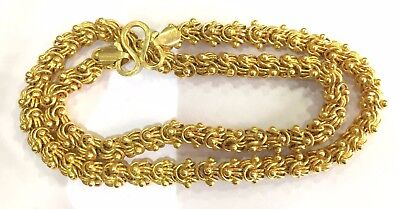 Vintage antique solid Handmade 20K Gold jewelry flexible link Chain Necklace