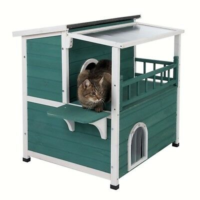 Sunroof Outdoor Indoor Den Wooden Cat Small Dog Rabbit Pet House Bed Kennel