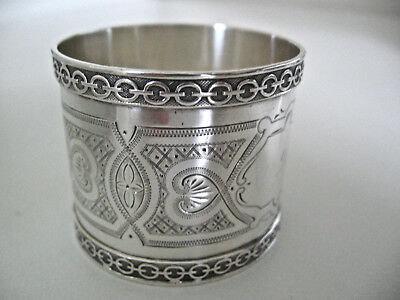 V ornate, superior sterling silver napkin ring.  Very early ring engraved LILLIE