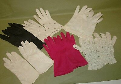 Vintage Women's Dress Evening Gloves Lot of 6 Pairs,Various Colors,Styles!