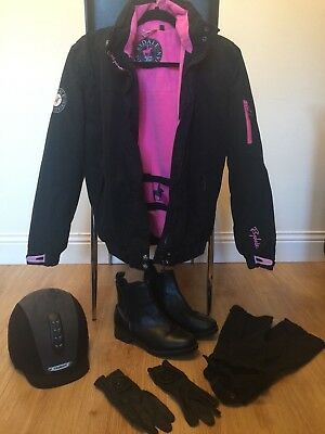 horse riding hat, boots, chaps, jacket and gloves