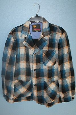 Vintage Mens 44 Richman Brothers Blue/White Plaid Wool Chore Jacket 60s 70s