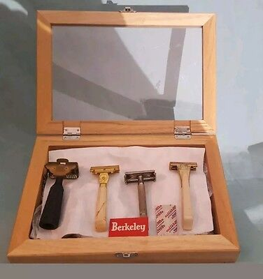 4 Vintage Razors Gillette, Schick, Gem, with wooden Display Box