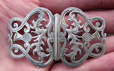 Edwardian Silver Nurses #12 Belt Buckle - H/M B'Ham 1906-7 - Thistle Design -VGC