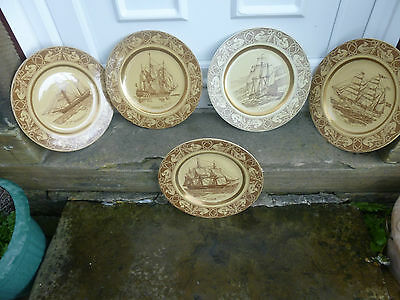 Set of 5 Sailing ship plates by Figgjo of Norway