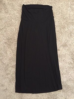 LikeNew Old Navy Maternity Black Long Maxi Skirt belly band Stretchy XS / S