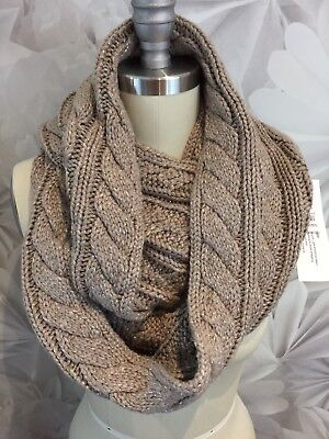 """New York & Company Cable Scarf Beige Metallic Accent 60""""  X  12"""" Infinity Nwt"""