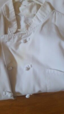 Chef Coat White Size XL Long Sleeve Knots Button Cotton Blend
