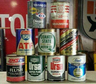 Petroliana oil can quart lot Sunoco DX Texaco Cities Services Ford Quaker State